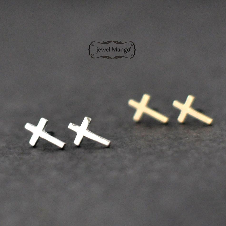 Cross Stud Earrings Gold Or Silver On Luulla