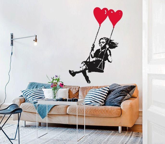 Banksy m dchen auf schaukel wandtattoo swing girl banksy swings and urban art - Wandtattoo banksy ...