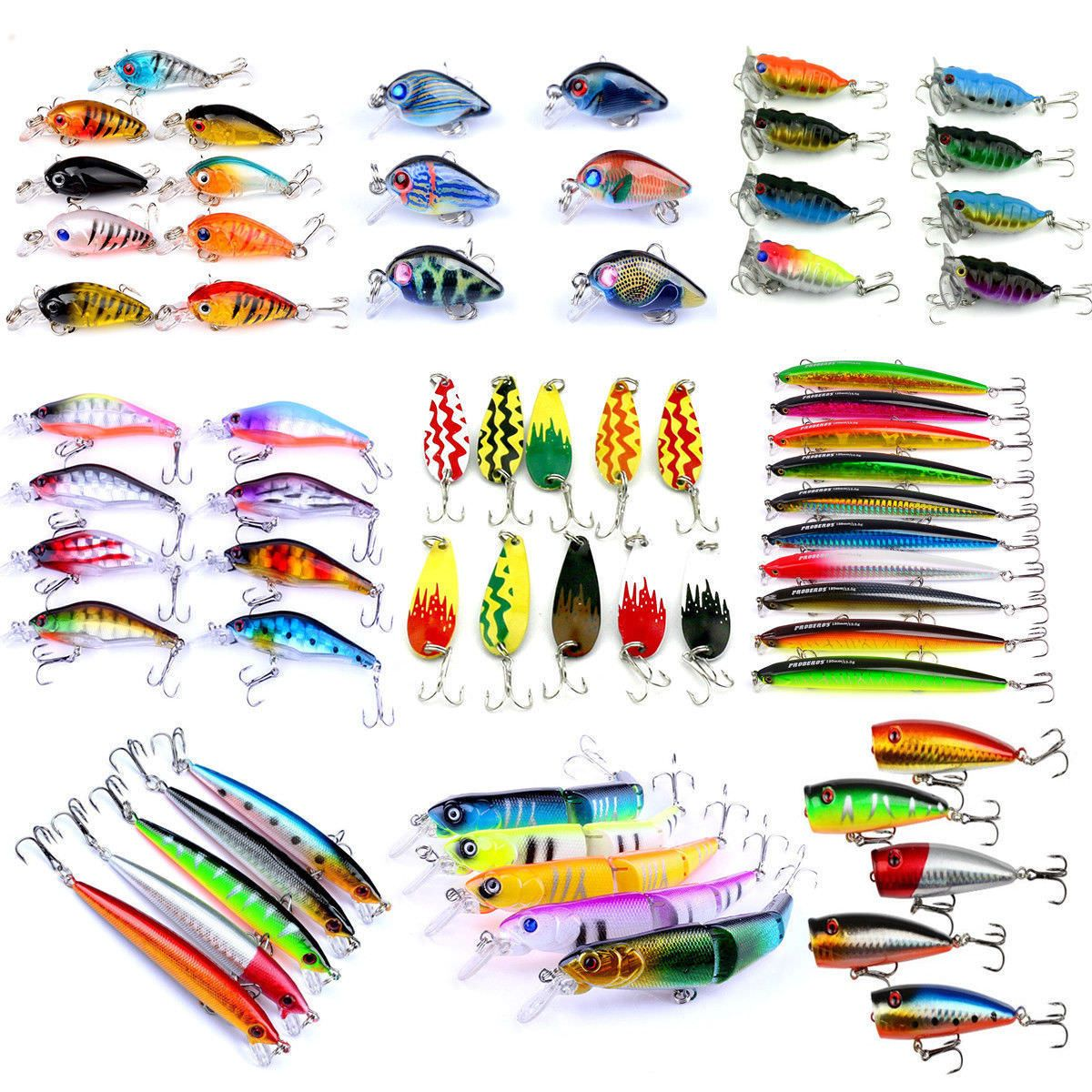Lots Artificial Bait Fishing Lures Luminous Night Minnow Carp with Hook