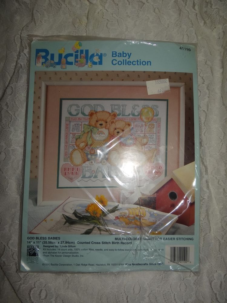 Bucilla Counted Cross Stitch #41199 God Bless Babies Teddy Bear  NEW Craft Kit #Bucilla #Frame