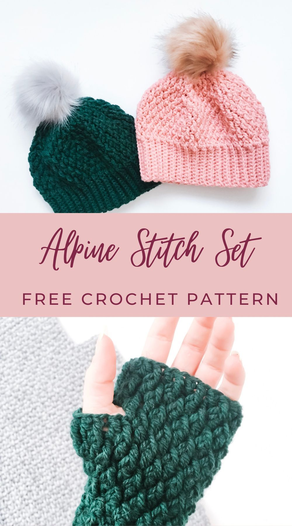 Aspen Alpine Stitch Beanie Hat   Burgundy and Blush   Crochet hats ...