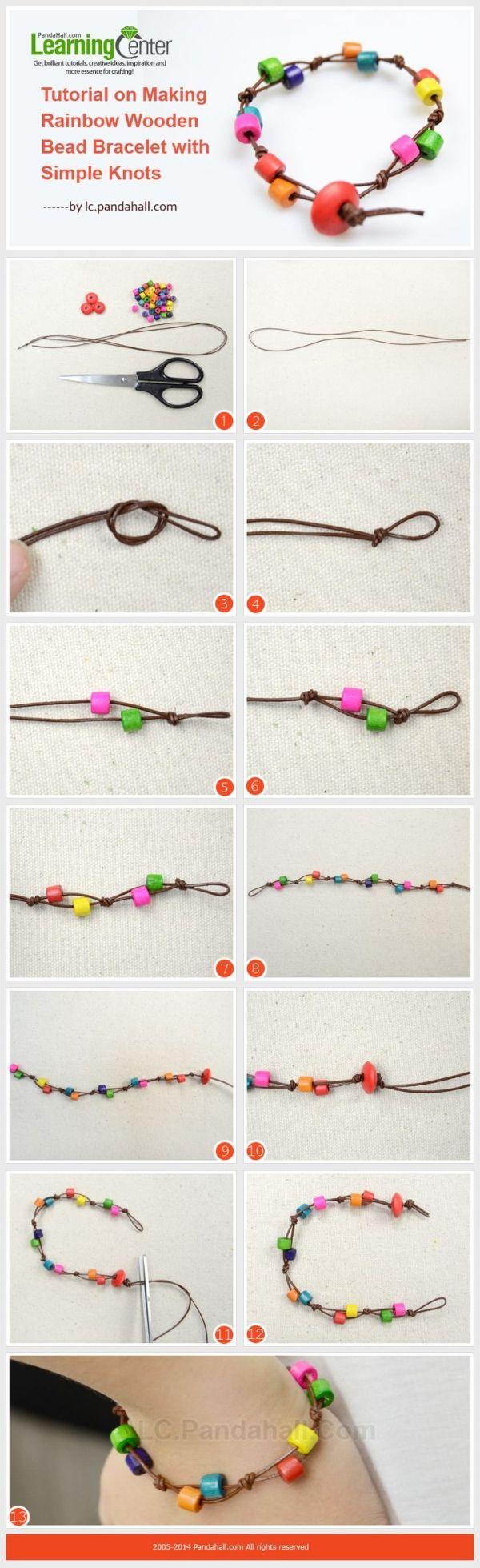 Bild Tutorial auf Herstellung Regenbogen aus Holz-Korn-Armband mit einfachen Knoten.  von margery