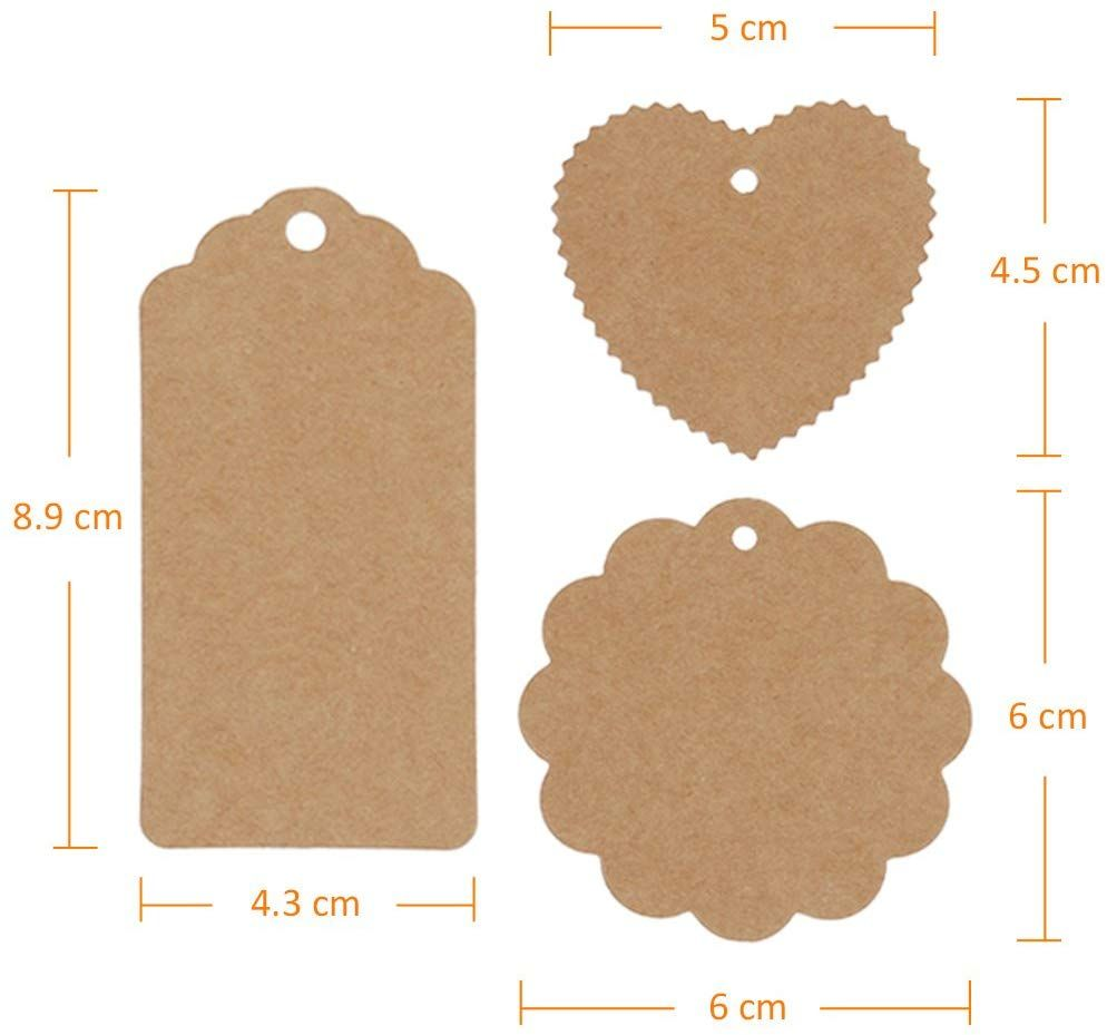 120 X Heart Blank Kraft Stickers Seal Labels Gift Lables Stickers Gift Wrapping