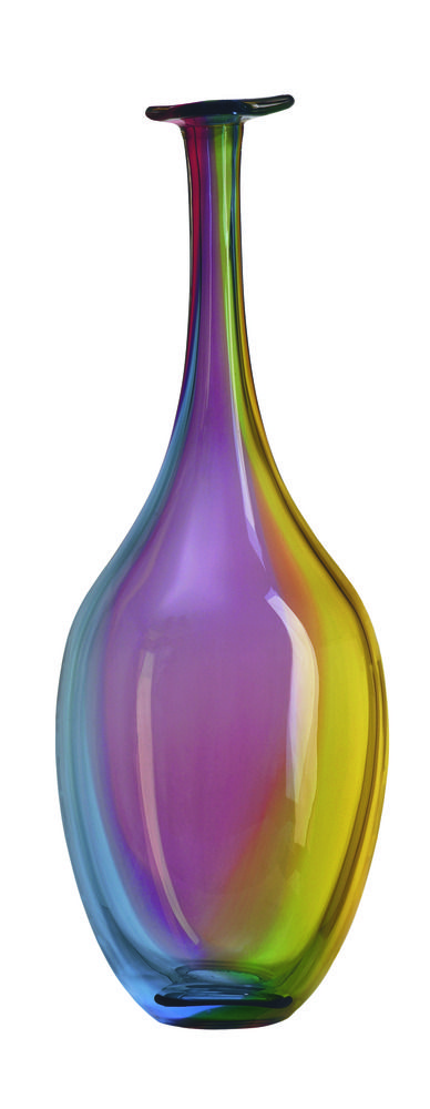 Vase with peacock colors