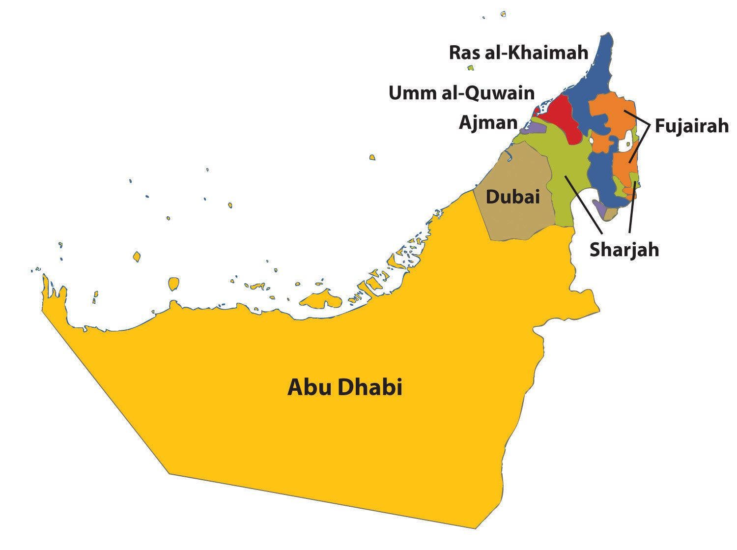 Outline Map Of Uae With Emirates Google Search General - Uae map