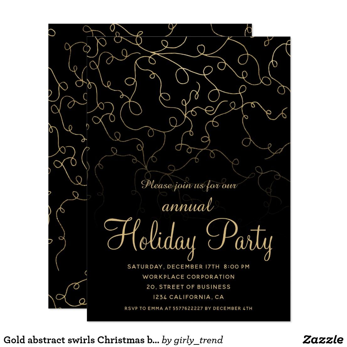 Gold abstract swirls Christmas business corporate Card   Christmas ...