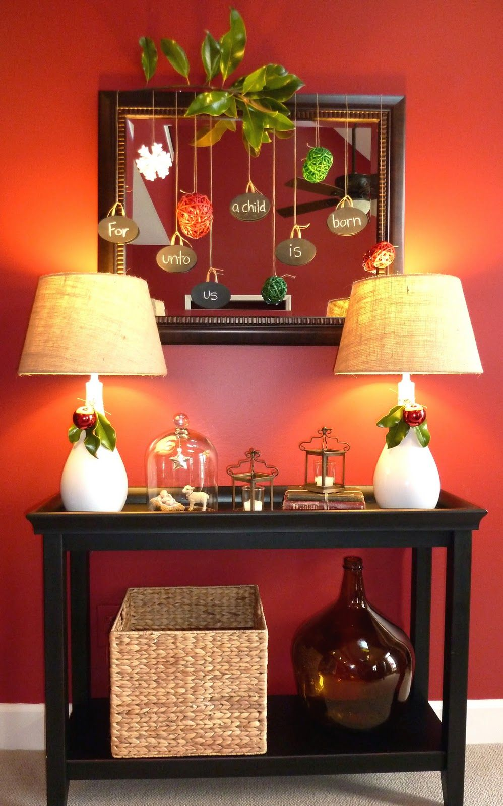 Fun And Traditional Christmas Hallway Decor Using A Pier 1 Console Table Seagr Basket