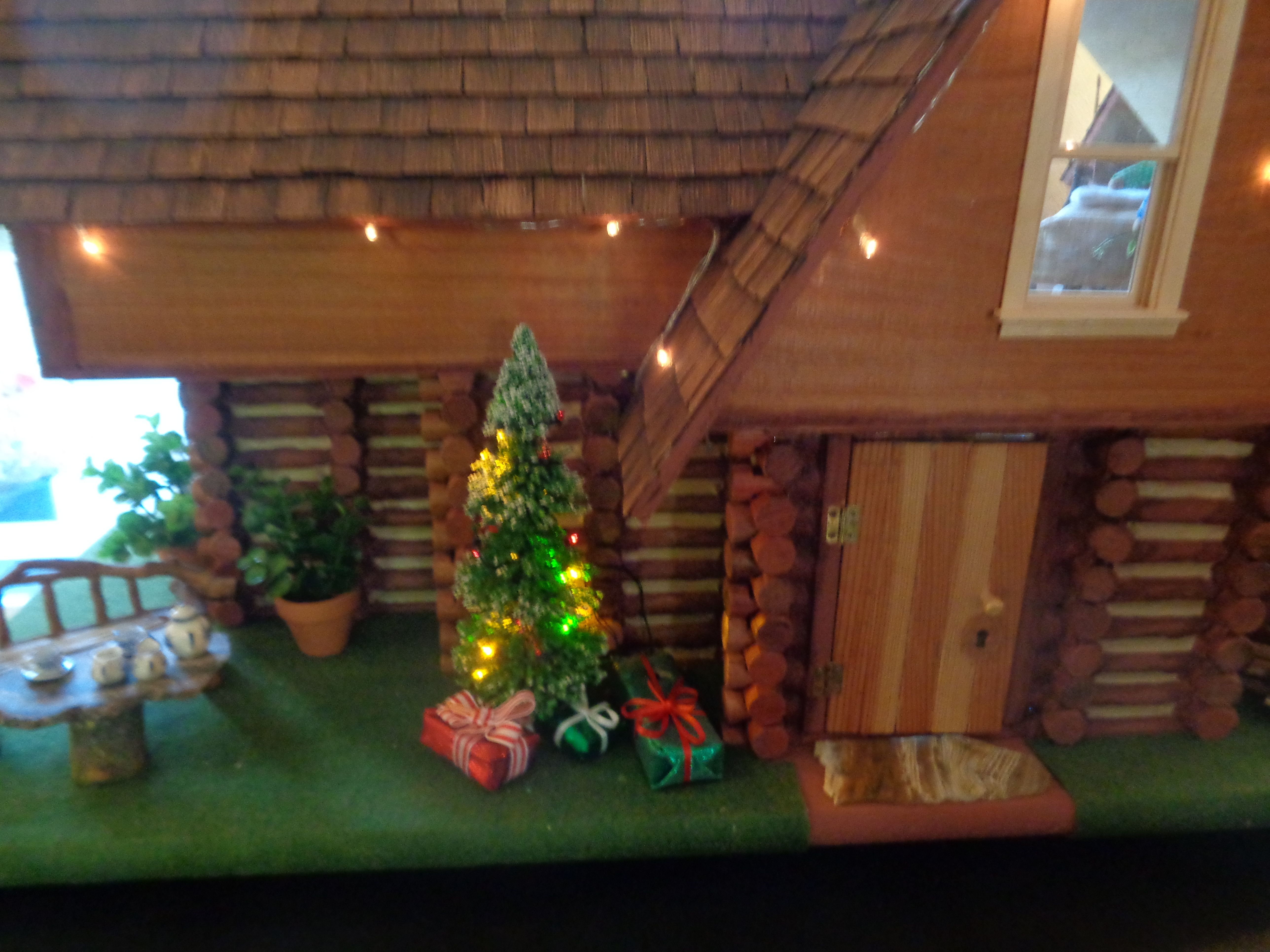 Dollhouse Exterior With Christmas Tree.
