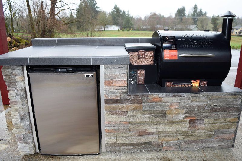 Outdoor kitchen for the Traeger pellet grill! We custom ...