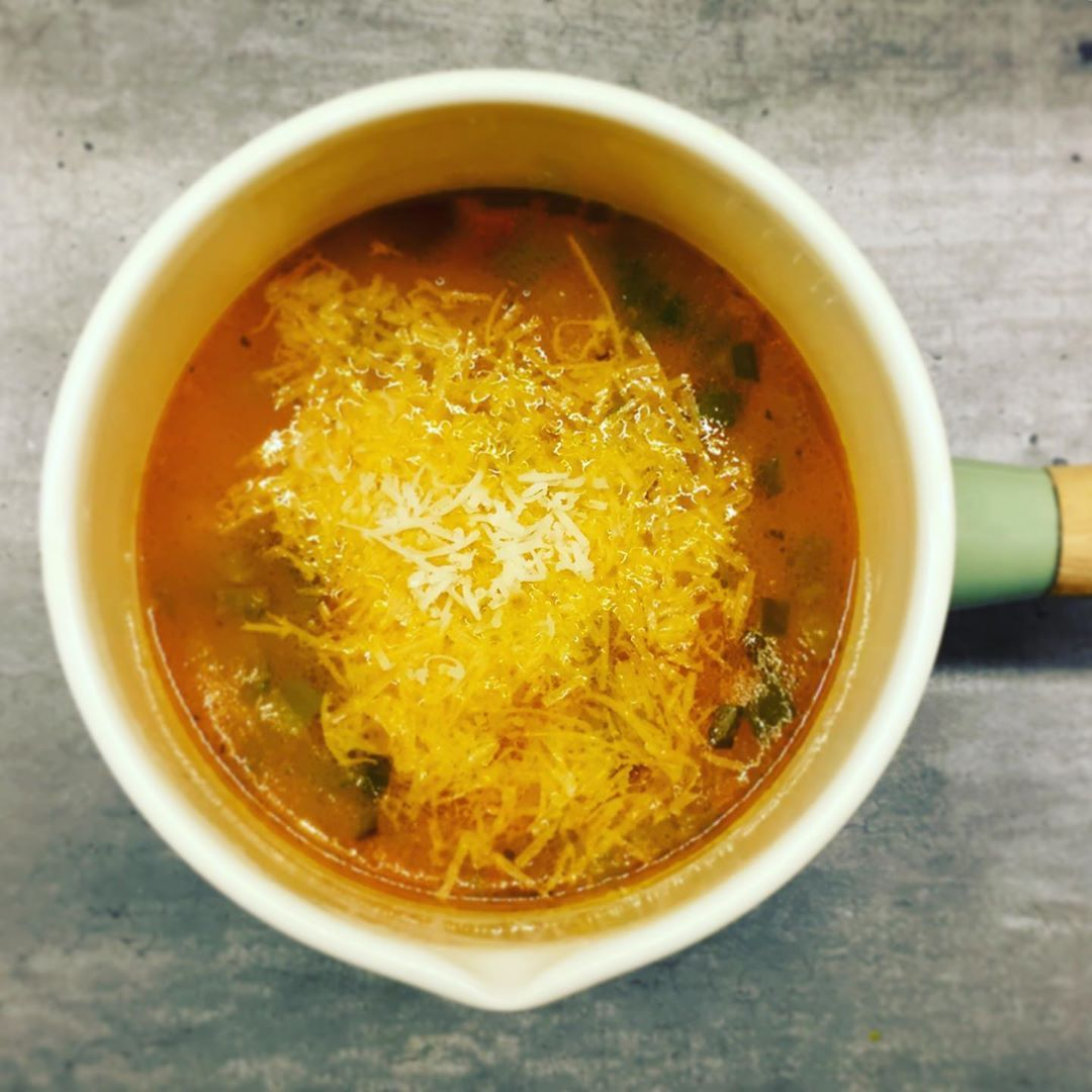 Summery vegetable soup with a hint of Italian parmeggiano cheese