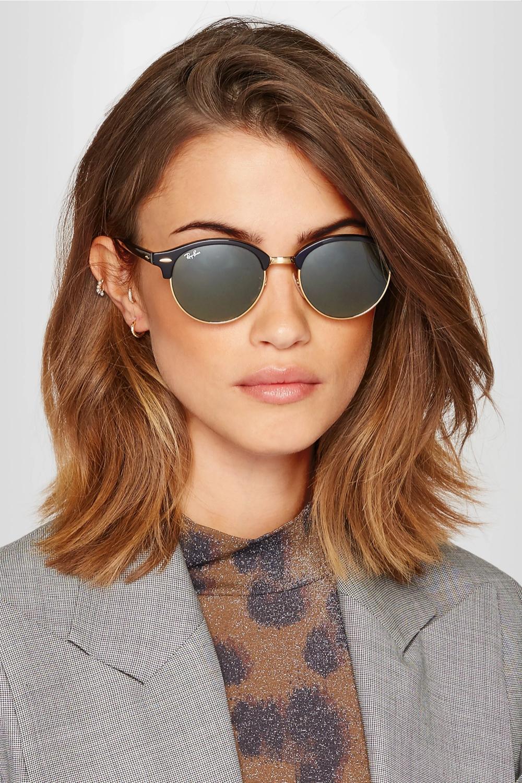 Clubround acetate and gold-tone sunglasses