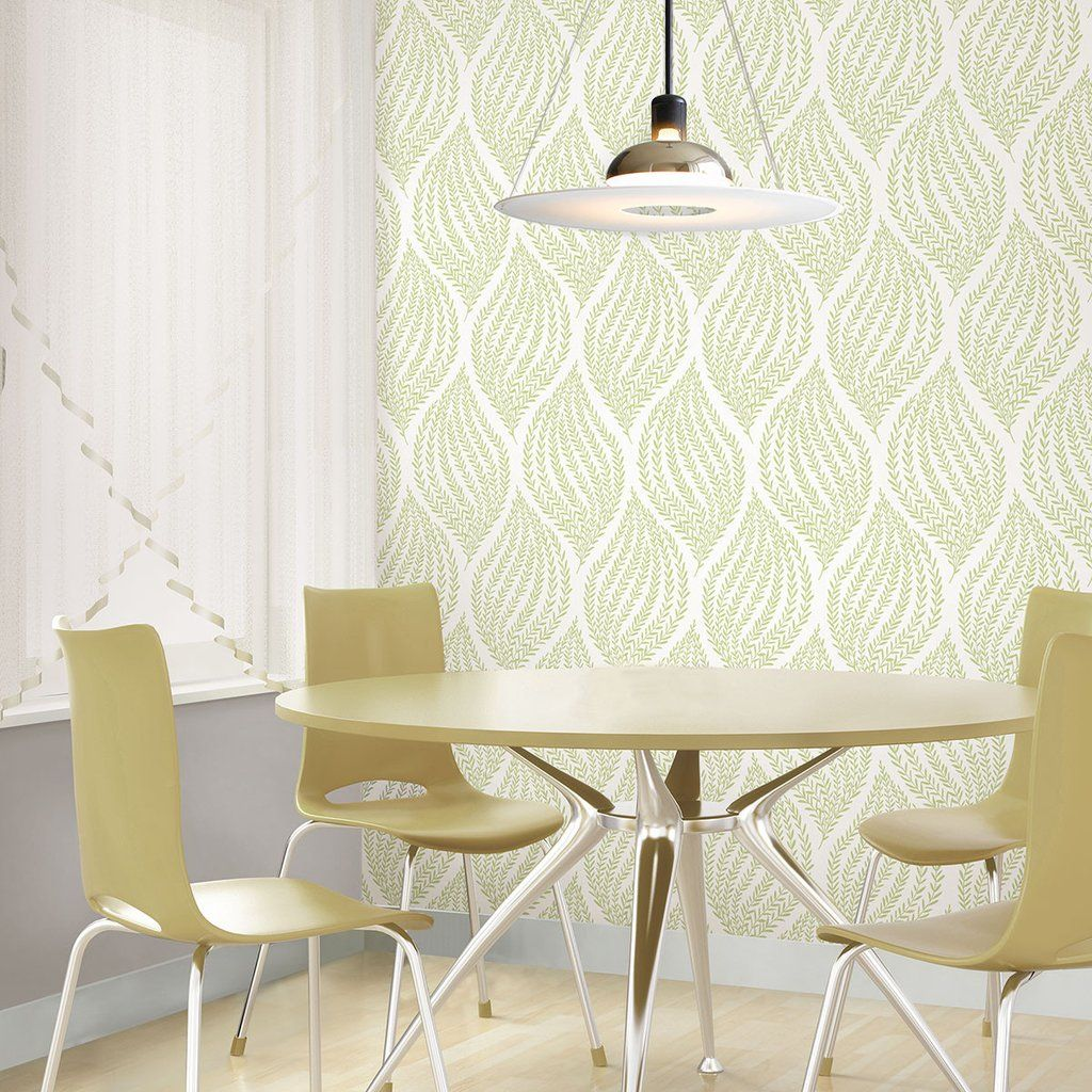 Fern Lime Green Peel and Stick Wallpaper Lime green