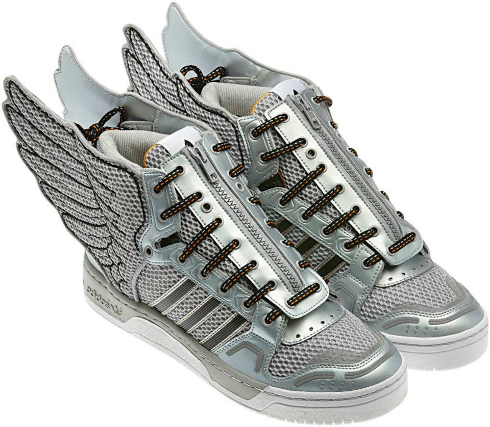 Adidas JS Wings One part sneaker, one part Pegasus. Jeremy Scott's Wings  take flight with their now iconic wing details and classic running shoe  look.
