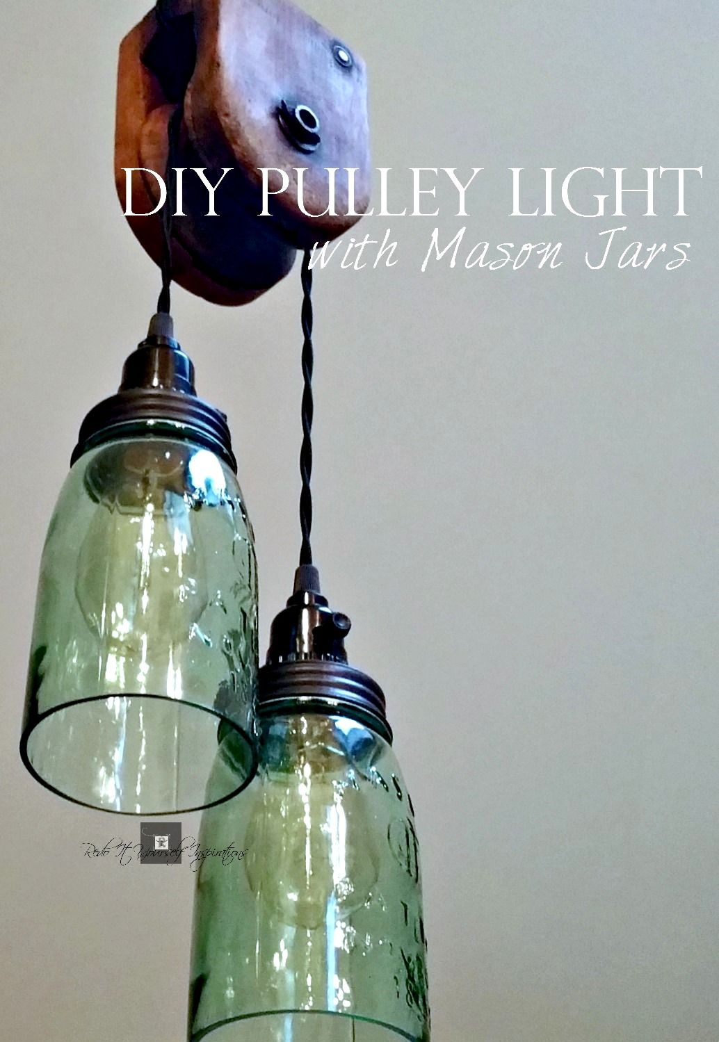 do it yourself lighting ideas. DIY Pulley Light With Mason Jars By Do It Yourself Inspirations, Featured On Funky Junk Interiors Lighting Ideas
