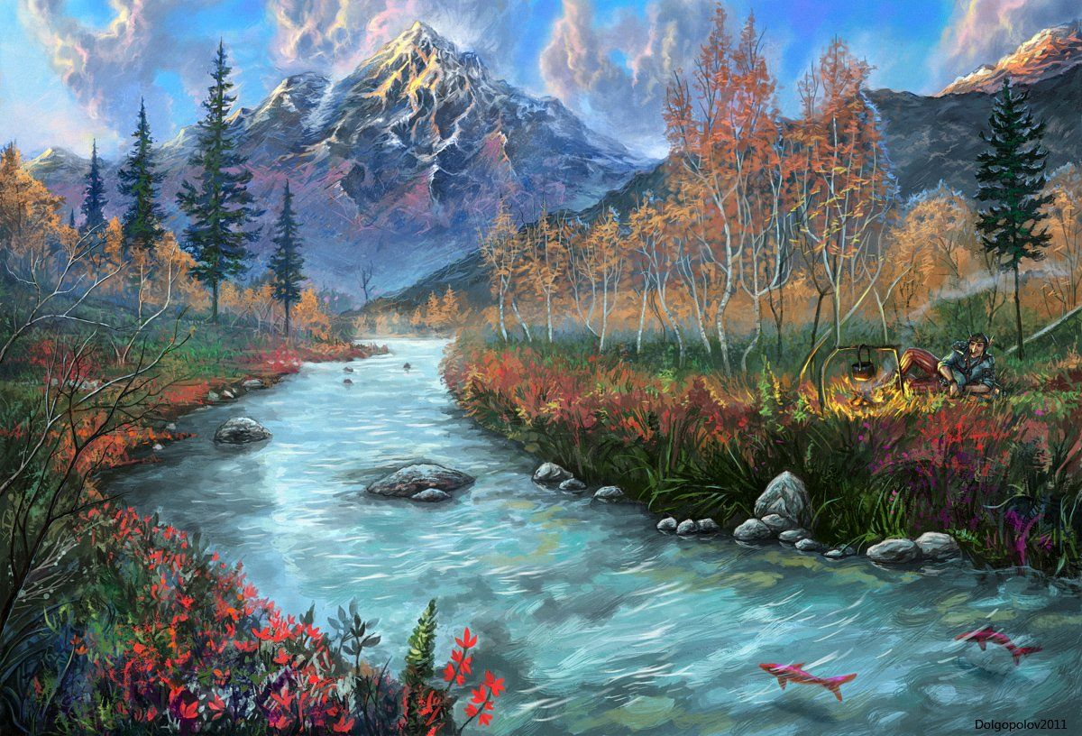 Mountains And Forests Picture 2d Landscape Painting Mountains River Forest Fantasy Image Digital Paysage