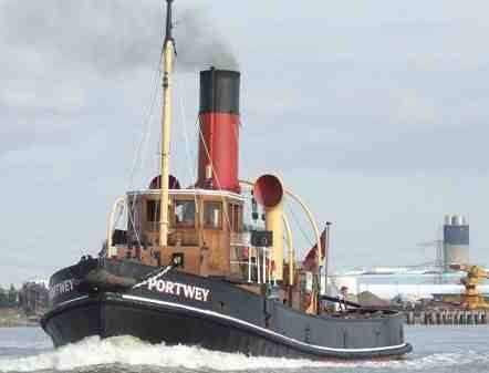 Steam tug portway on the Thames during the 2014 Greenwich tall ships festival