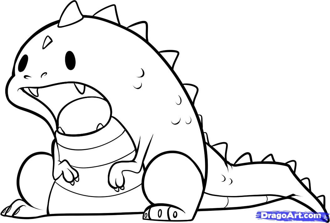 How to Draw an Easy Dinosaur, Step by Step, Dinosaurs