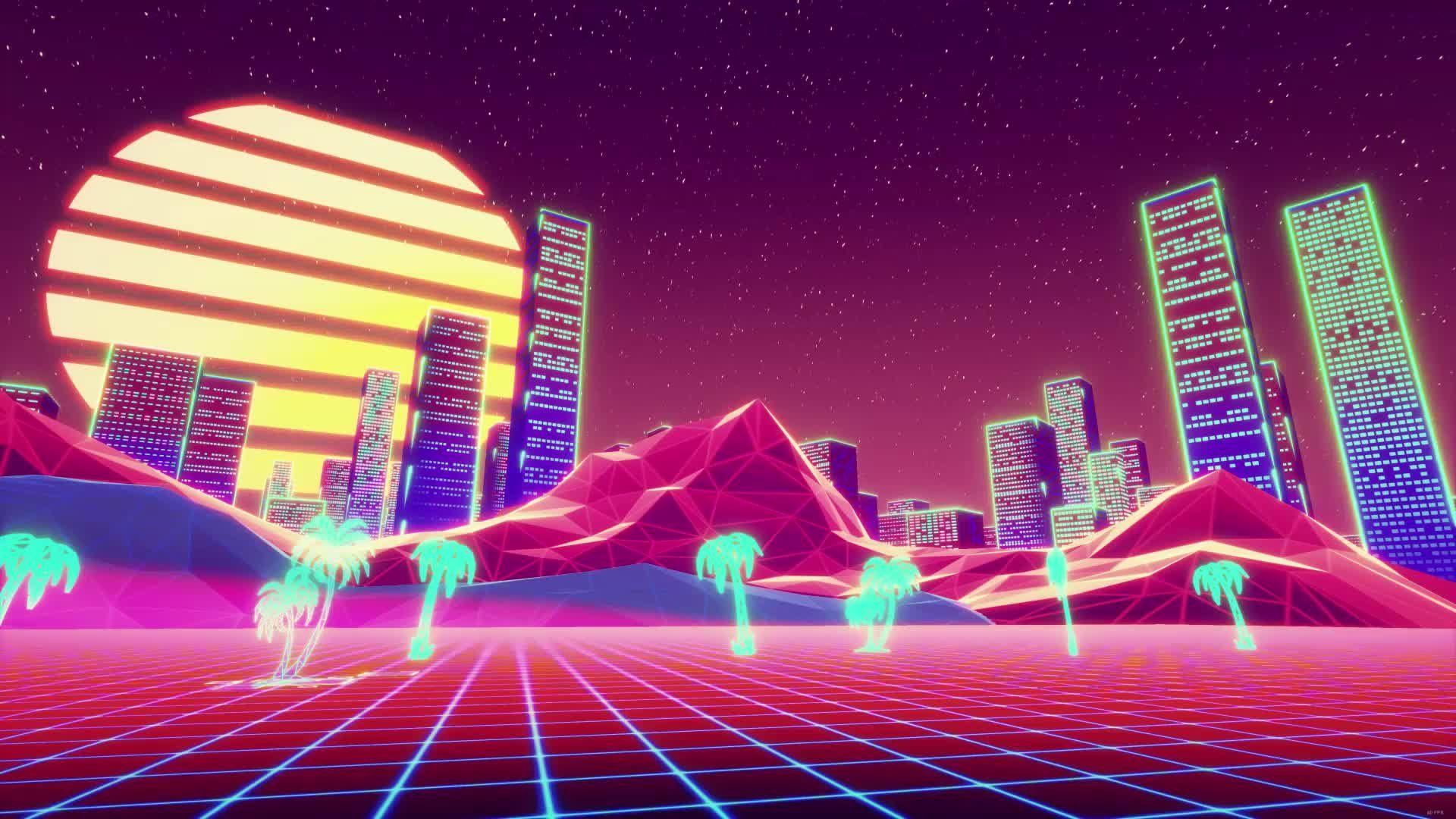 2k Retro City Neon Lights Live Wallpaper Live Wallpapers Free Animated Wallpaper Wallpaper