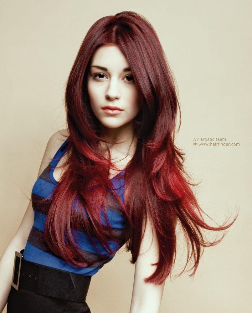 Dark Red Hairstyles For Long Hair Hairstyles Hairstylesforlonghair Medium Hair Styles Hair Styles Red Hair Model