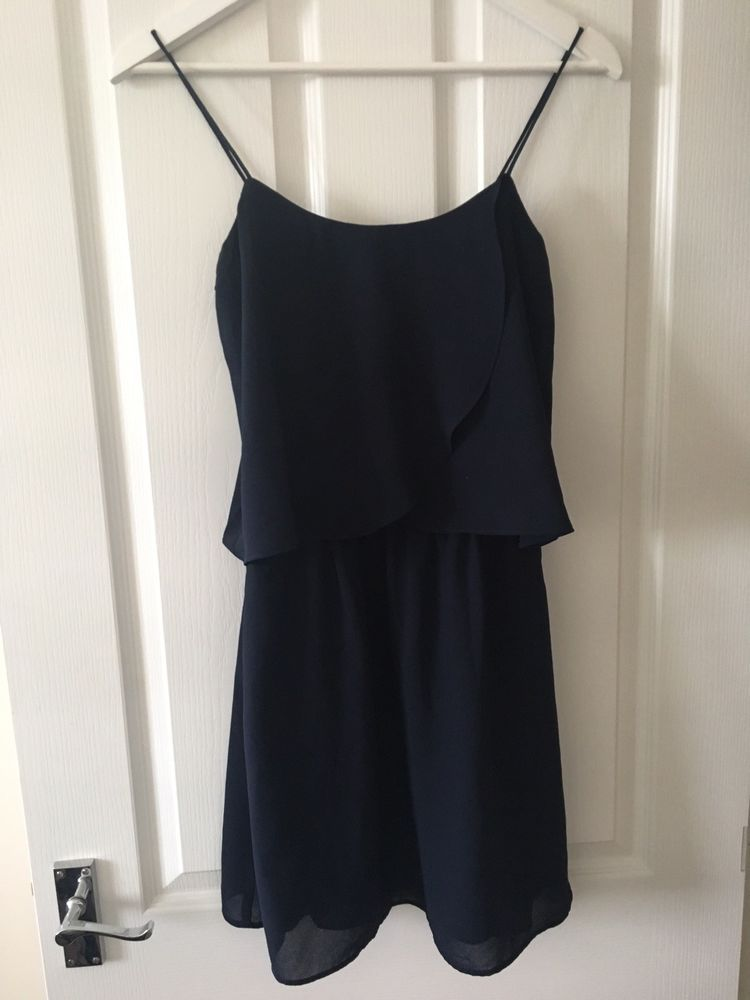 b14d66b330 Navy Frill Strappy Cami Dress Mango S  fashion  clothing  shoes   accessories  womensclothing  dresses (ebay link)