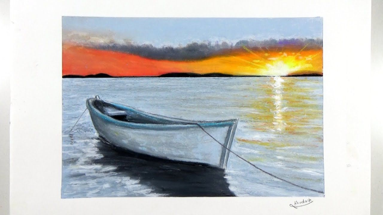 Sunset Scenery With Oil Pastel For Beginners Easy Boat Drawing Step Boat Drawing Pastel Sunset Scenery