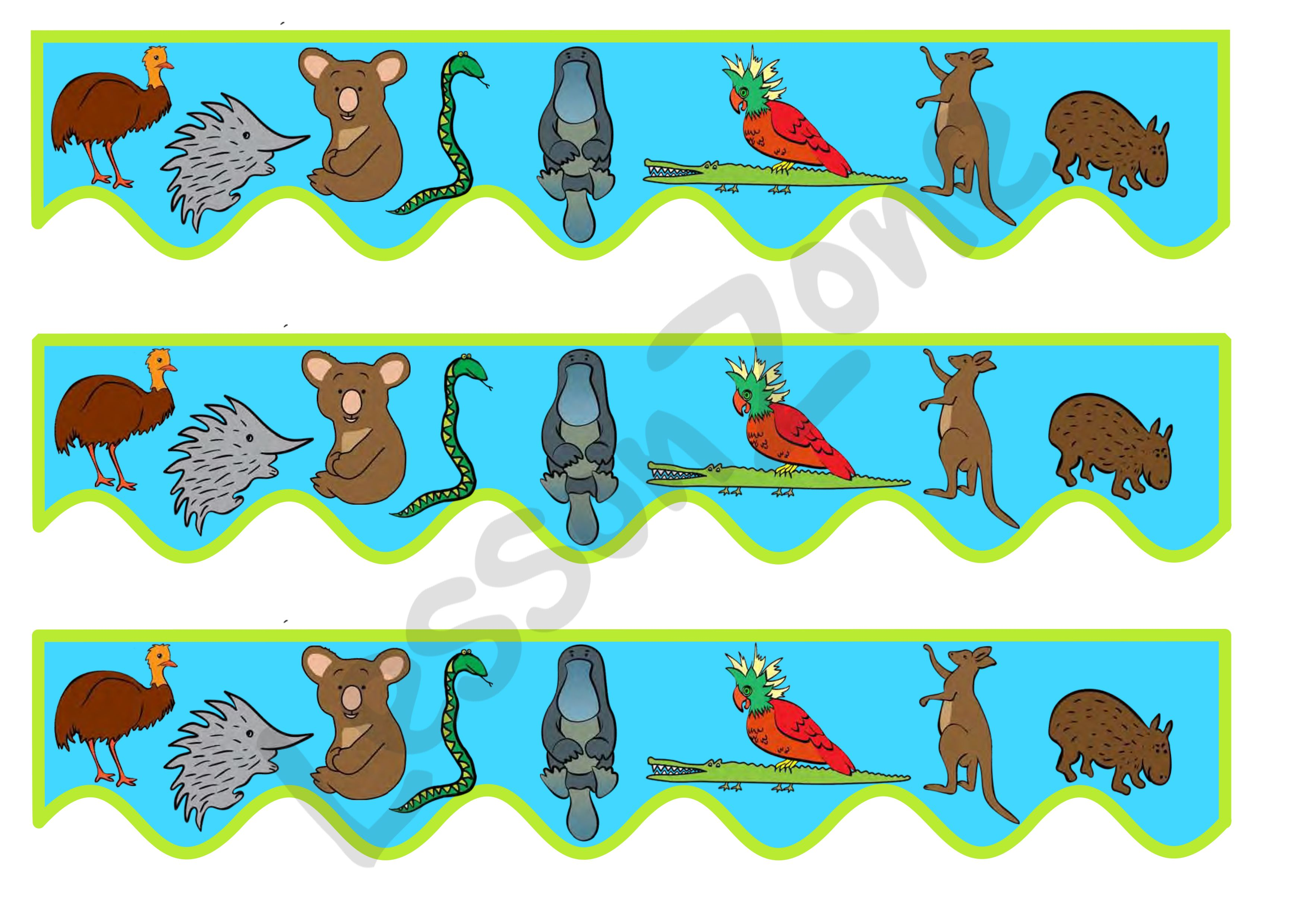 Decorate Your Classroom With Australian Animal Themed Bulletin Board Trimmers For The 4 Page Download V Australian Animals Kids Craft Work Classroom Displays