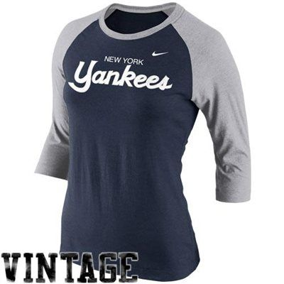 28859c948 Nike New York Yankees Cooperstown Collection Three-Quarter Sleeve Tri-Blend  T-Shirt - Navy Blue/Gray