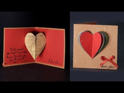 Happy Valentine's Day Card - Pop Up Heart Card Tutorial with Love Message - YouTube