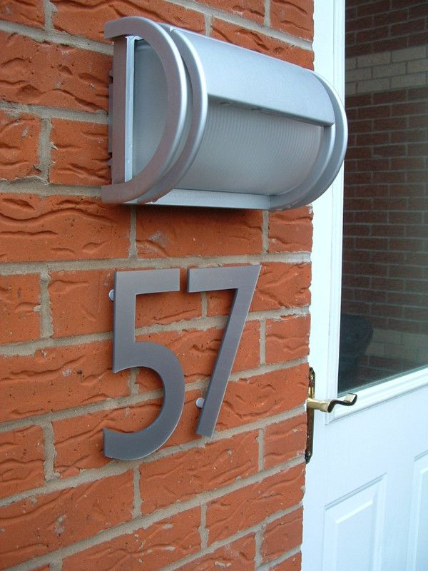 Large House Numbers on brickwork modern light and white door