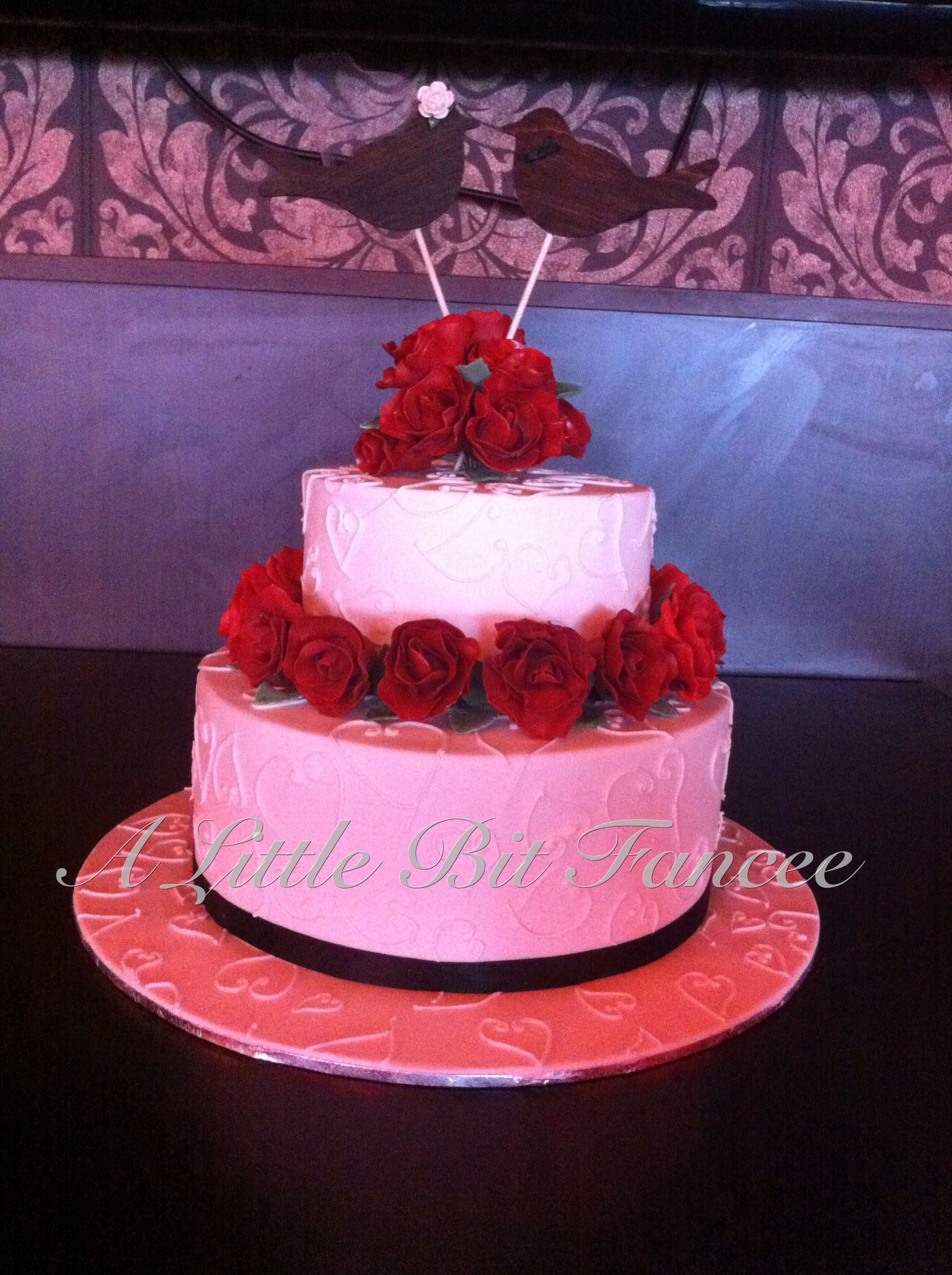 2 tier wedding cake with gum paste roses | Wedding cakes | Pinterest ...