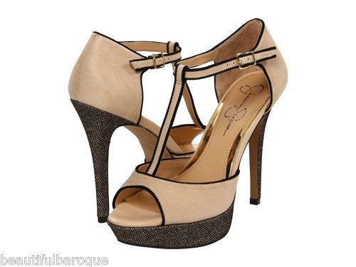 Jessica Simpson Bansi Bone Nude Summer Haze Leather T Strap Heel