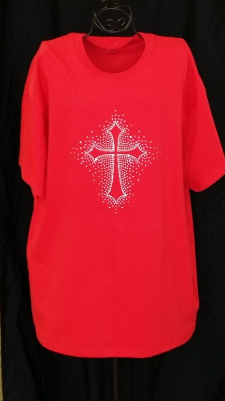 "T-SHIRT WITH 8"" X 9.5"" RHINESTONE CROSS"