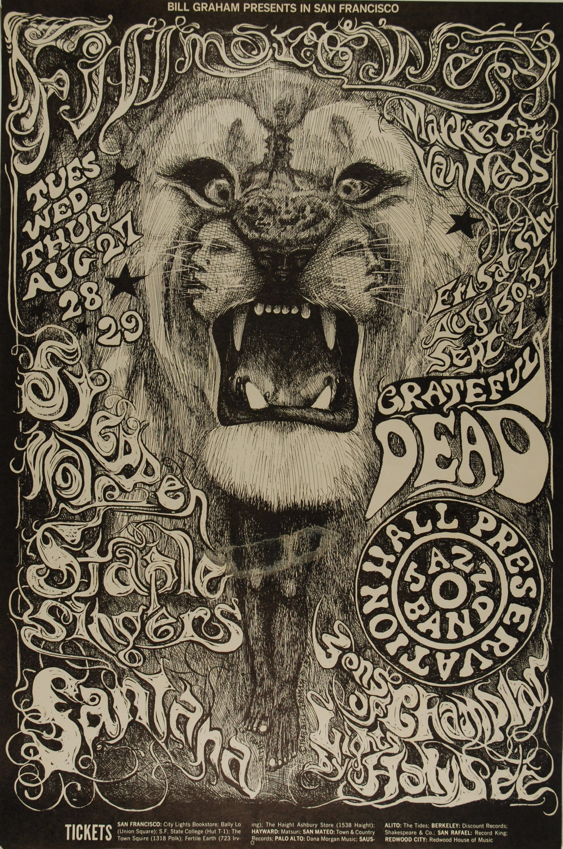 BG 134) 1968 Steppenwolf / Grateful Dead at the Fillmore. Art by Lee ...