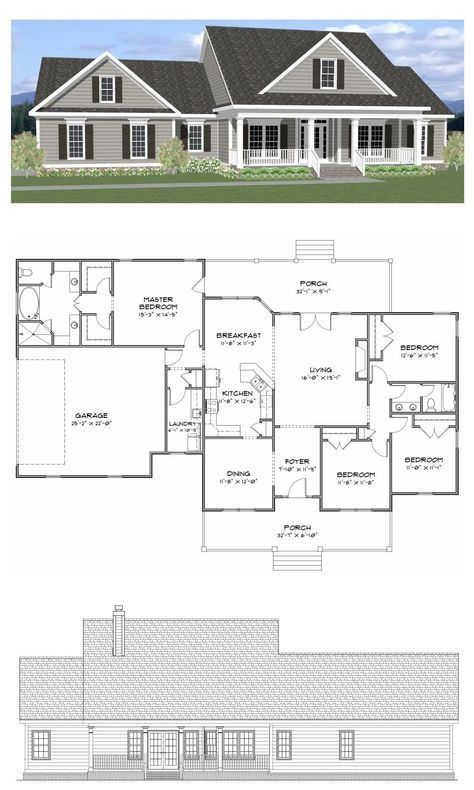 Plan SC-2081 4 bedroom 2 bath home with a study The home has 2081