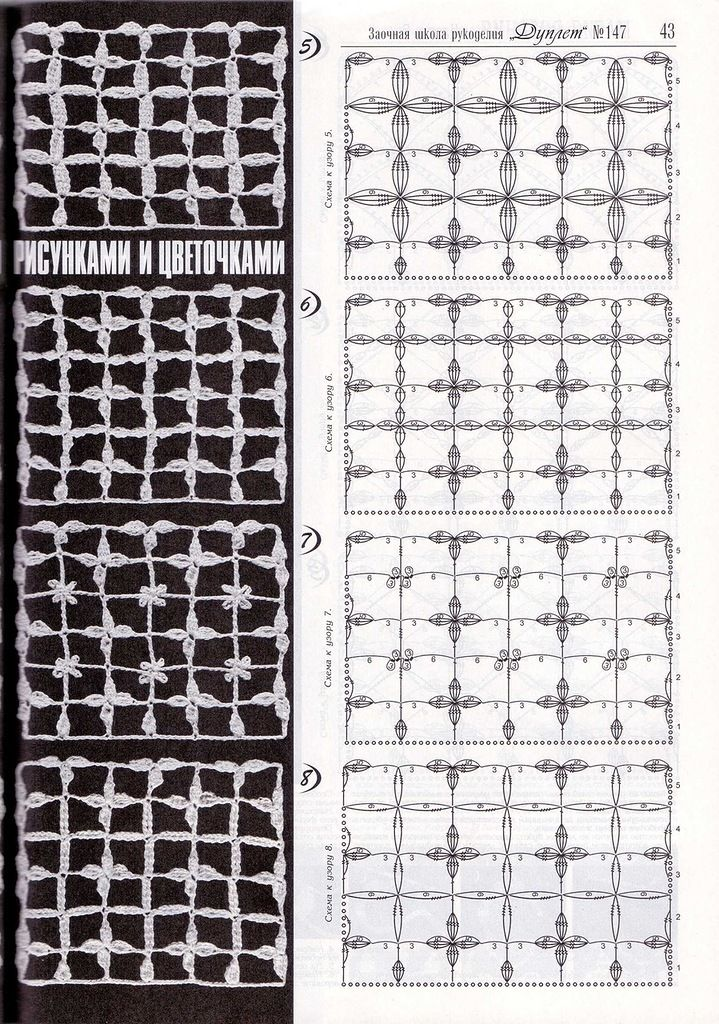 Crochet lace ground stitches pattern; petals in square mesh/net ...