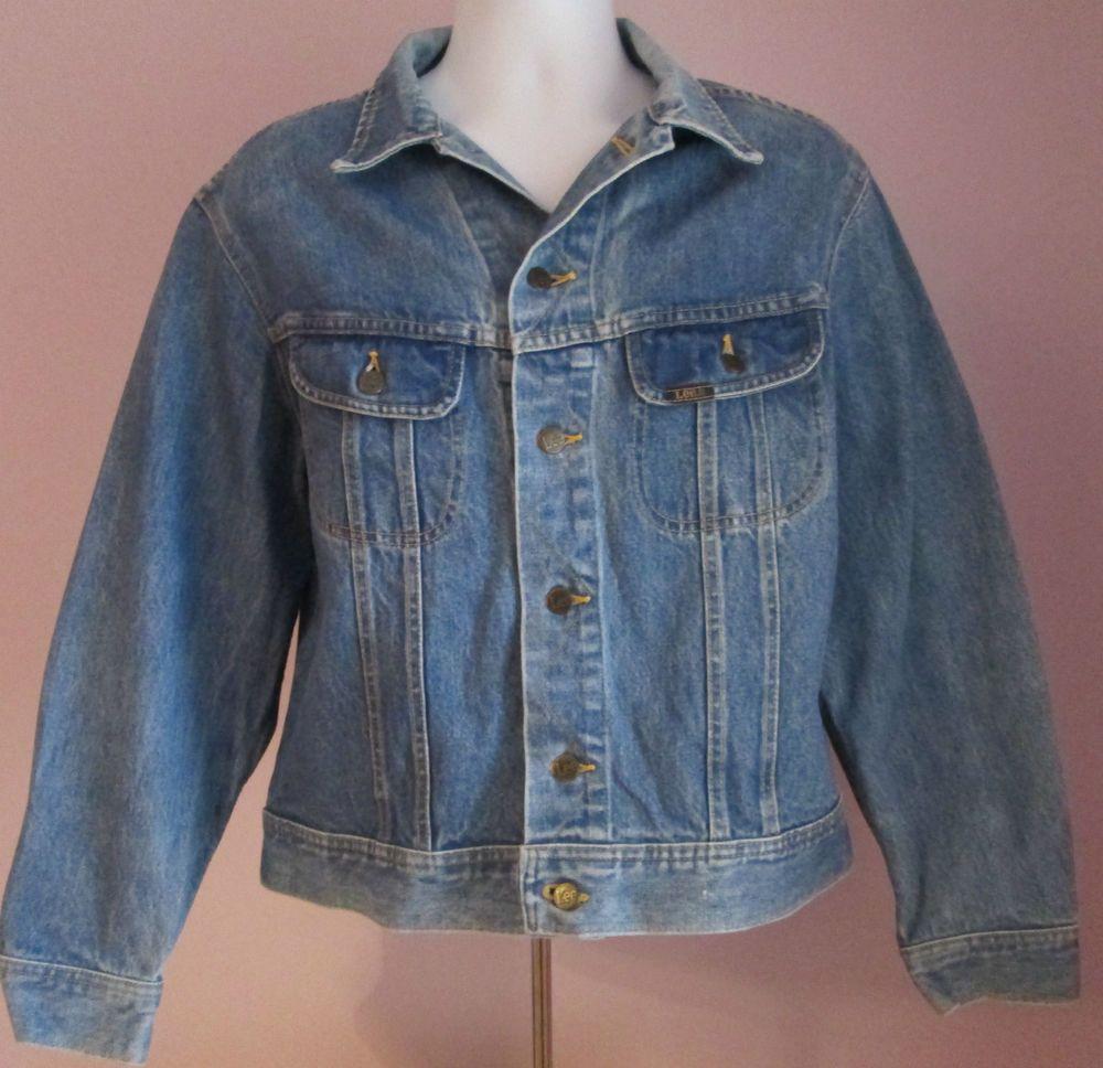 VTG 90s Mens LEE Blue Denim Jacket Size Large                              (#G8)