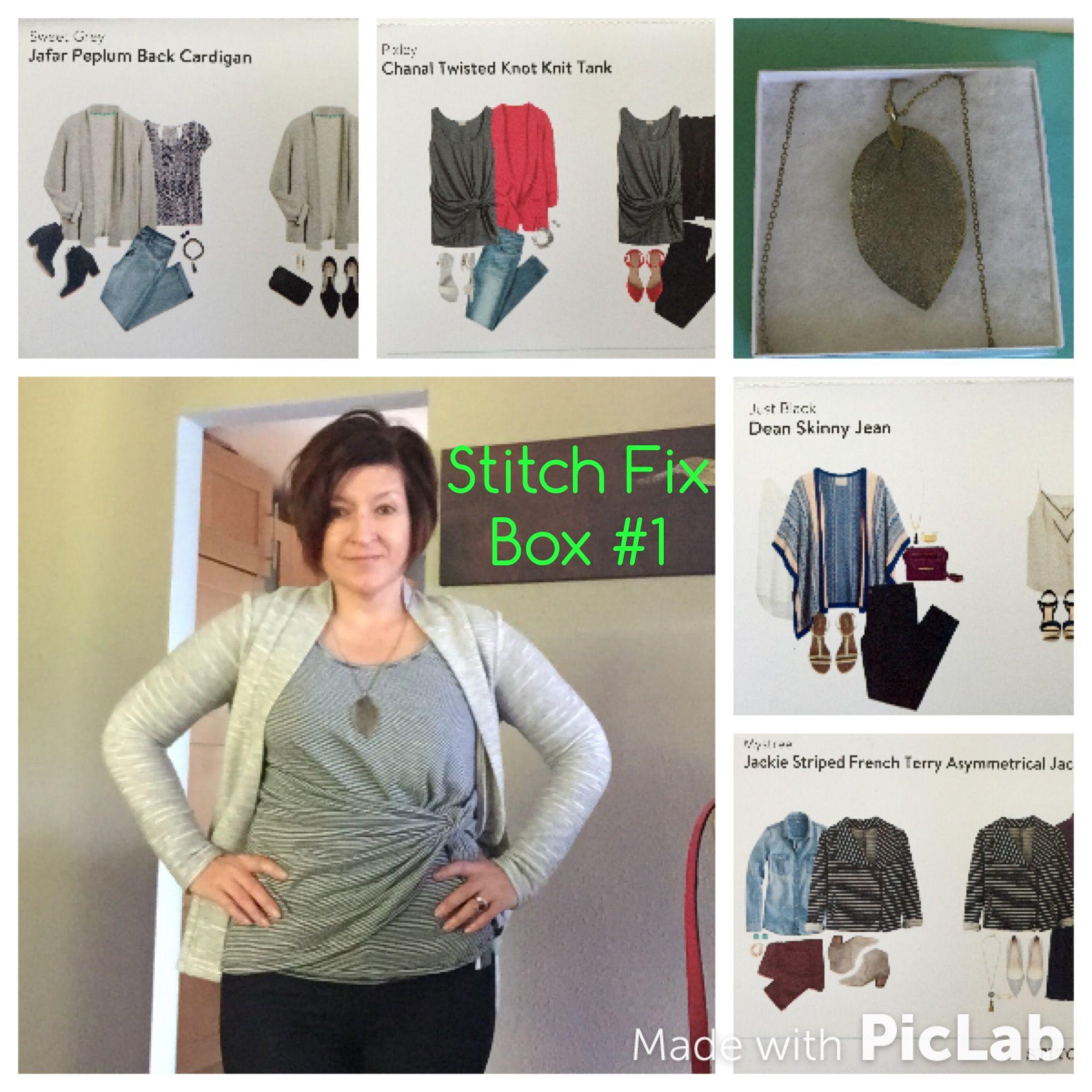 a481e75bd19b Stitch Fix Box  1  Sweet Grey Jafar Peplum Back Cardigan (Light Grey)   Pixley Chanal Twisted Knot Knit Tank (Black)  Zad Raya Pendant Necklace  (Antique ...