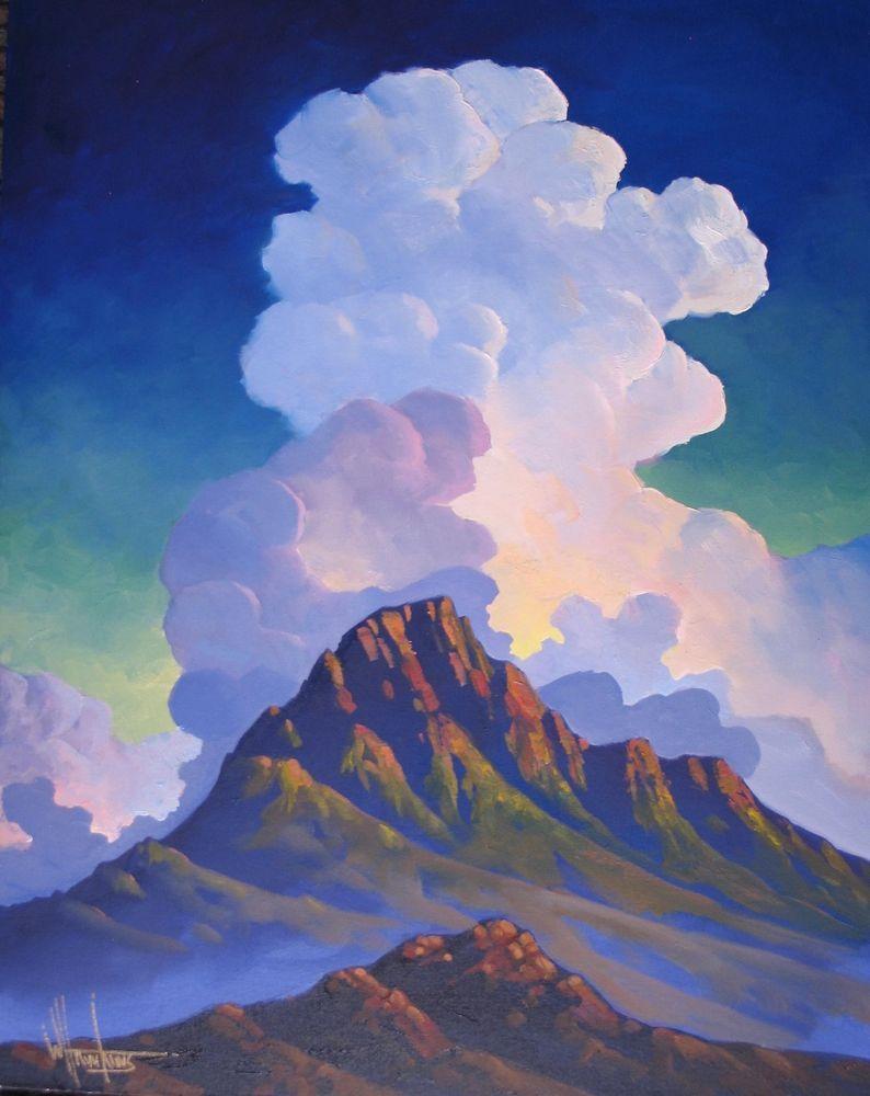 Original William Hawkins Landscape Painting Southwestern Clouds Desert Sunset Landscape Paintings Desert Painting Desert Sunset Painting