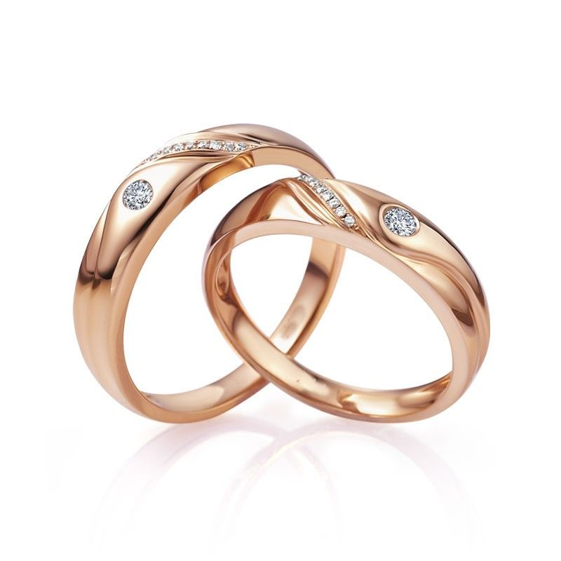 Couple rose Gold Matching ring for him and her Matching Wedding