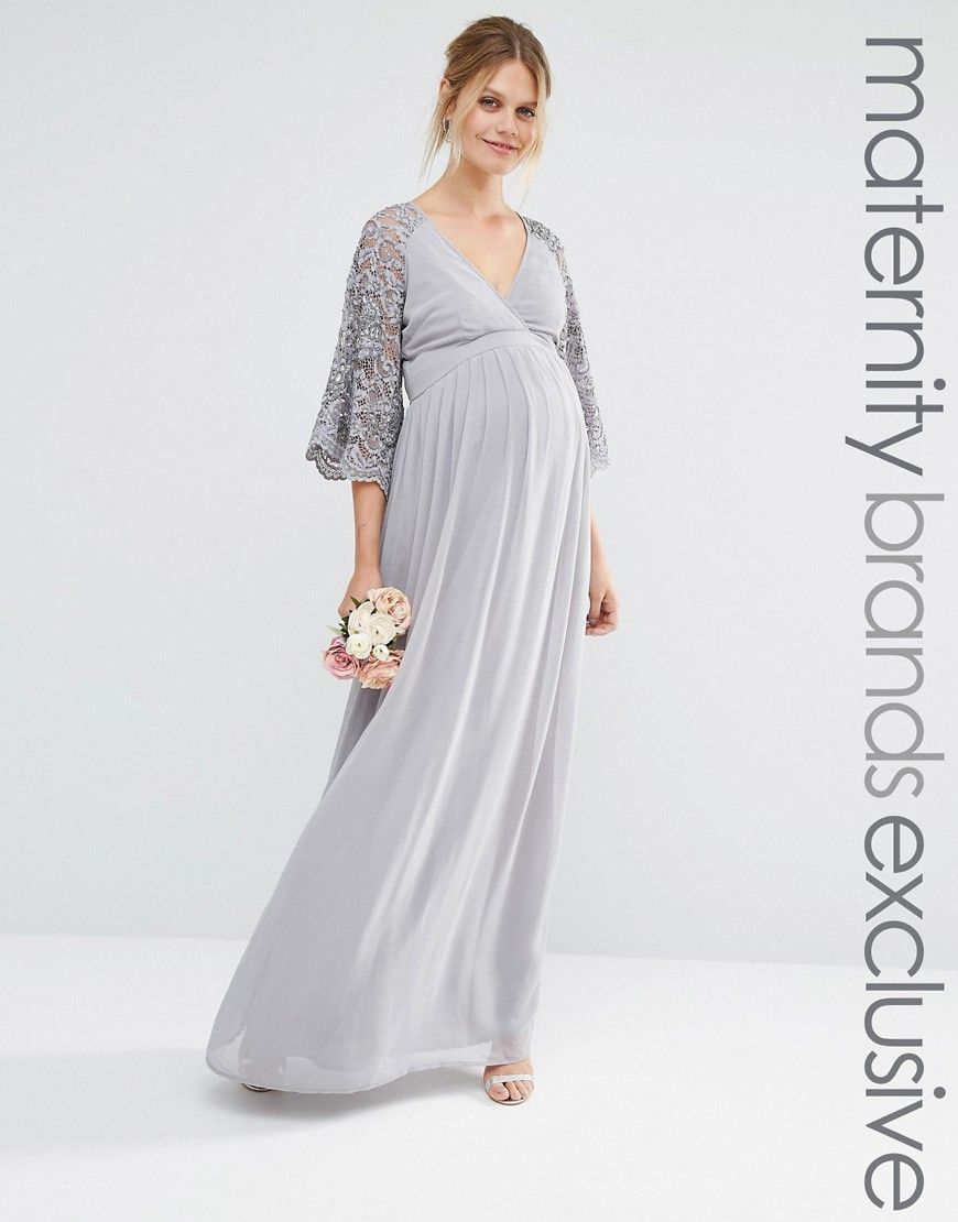 Maya Maternity Wrap Front Pleated Maxi Dress With Lace Sleeve