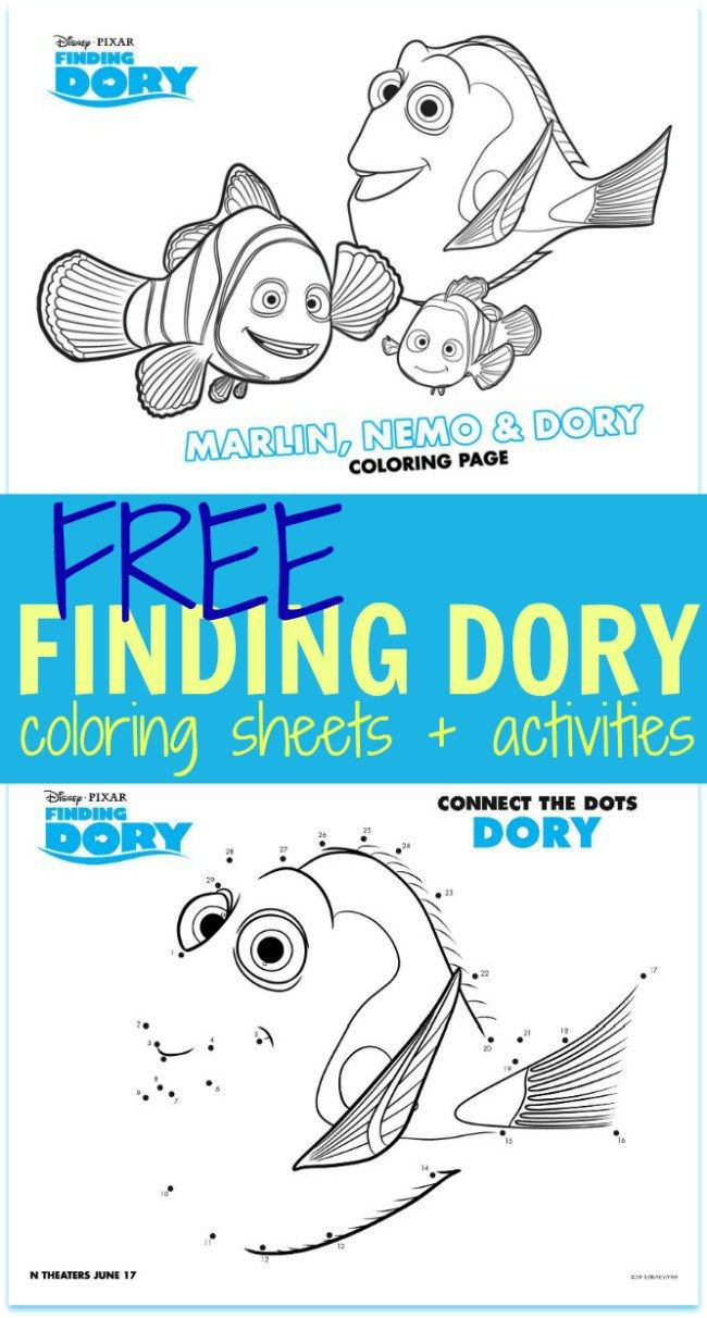 FREE Finding Dory Coloring Sheets + Kids Activities #FindingDory ...