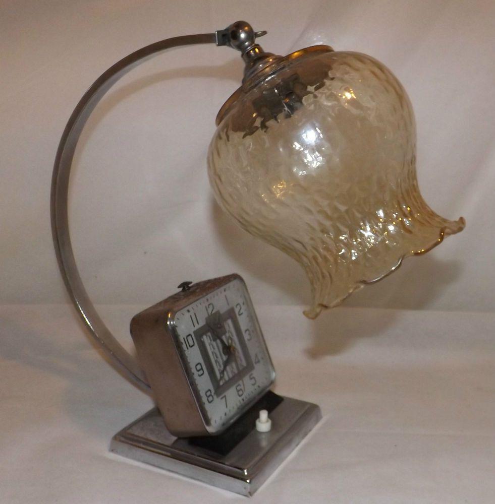 RETRO Vintage PIFCO Alarm BEDSIDE Desk CLOCK With LAMP