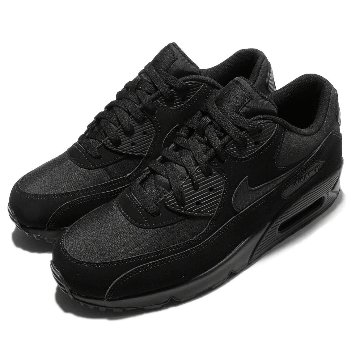 Nike Air Max 90 Essential Triple Black Classic Mens Running Shoes ...