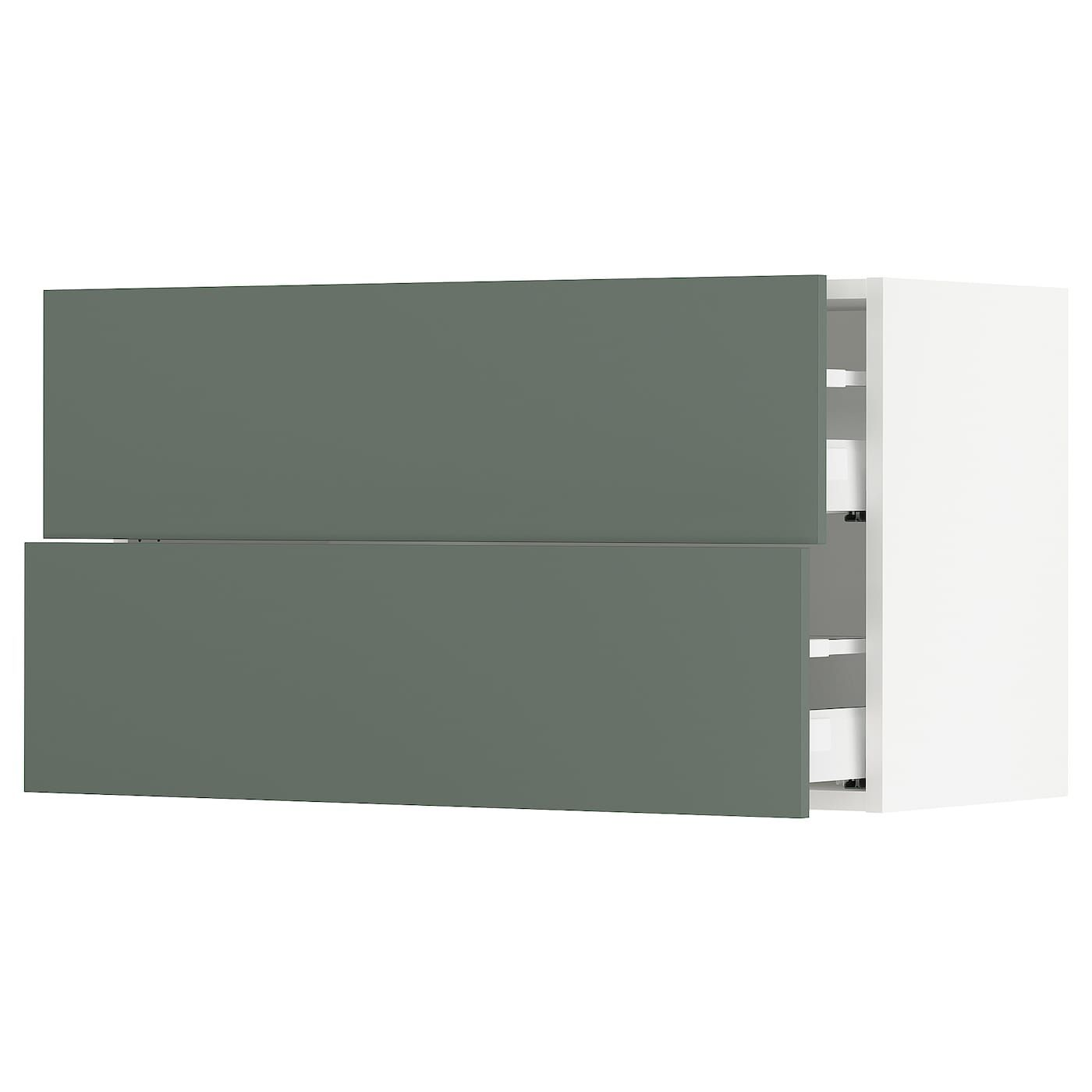 Ikea Sektion White Maximera Bodarp Gray Green Wall Cabinet With 2 Drawers In 2020 Ikea Green Grey Kitchen Wall Cabinets