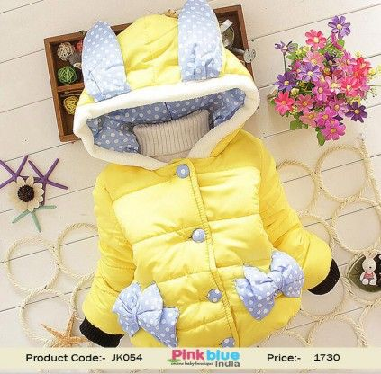 90f3e930fd59 Lime Yellow Fashionable Winter Jacket for Indian baby Girls