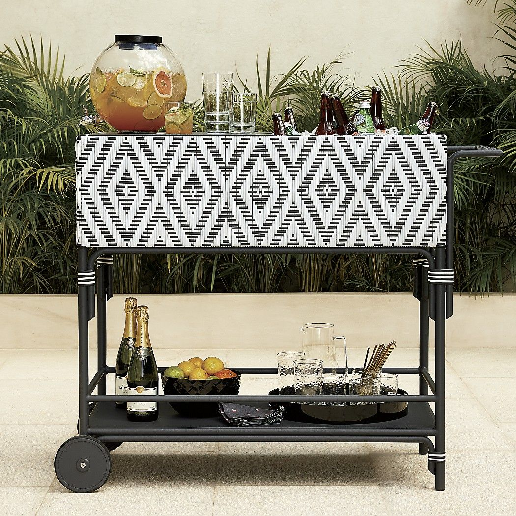 Escale Outdoor Bar Cart With Cooler Bring The Home Poolside In All Weather Wicker Graphic Black And White Diamond Pattern Surrounds Metal