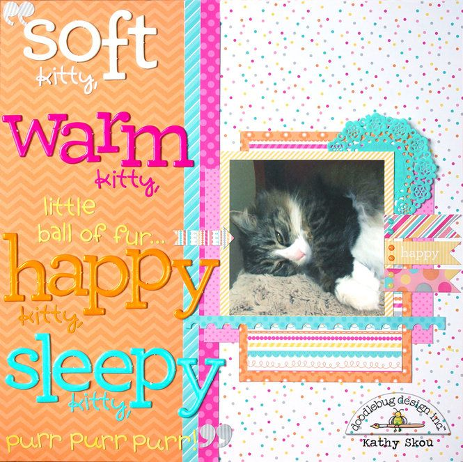Cat Scrapbook Layout Doodlebug Design Soft Kitty Scrap