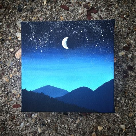 Night Sky Painting By Paintedwilderness On Etsy Canvas Art Painting Cute Canvas Paintings Canvas Art Painting Acrylic