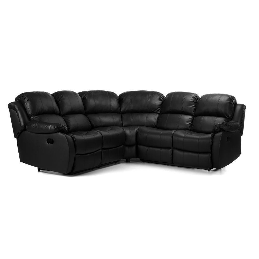 Leather Corner Sofa Black Reclining 4 Seater Living Room Office Furniture Metal