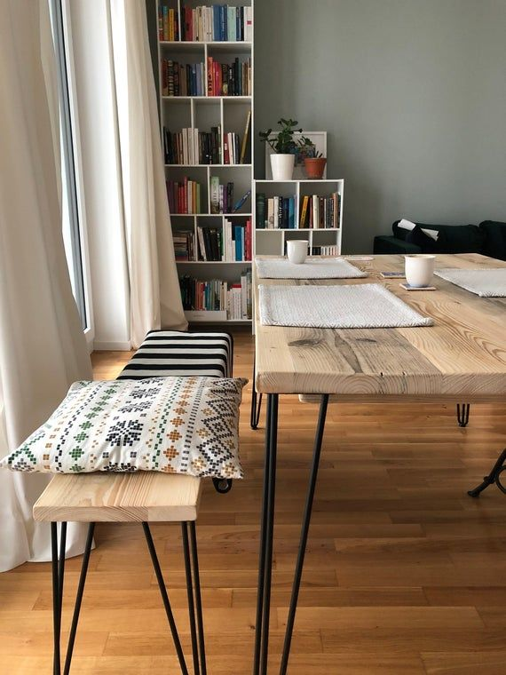 Reclaimed Dining Table With Black Hairpins Choice Of Sizes